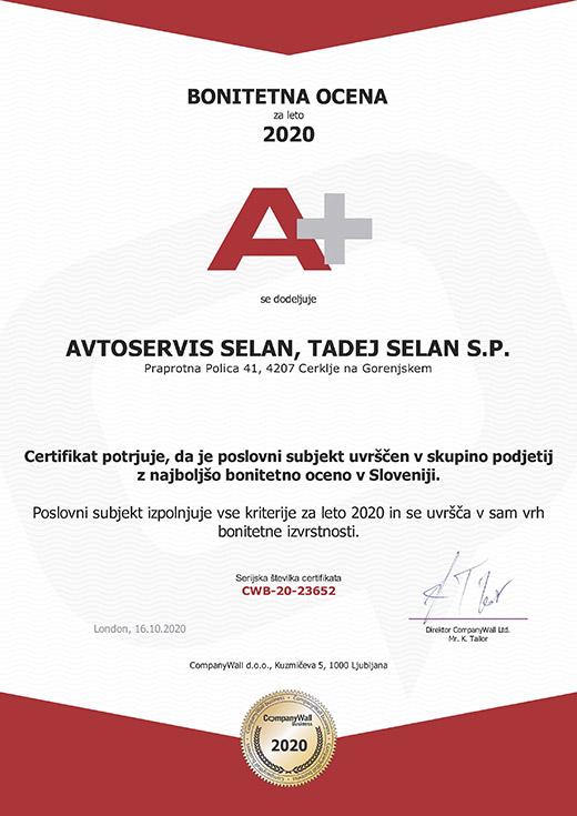Avtoservis Selan - Bonitetna ocena A+
